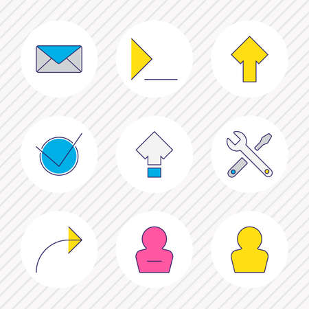 Vector illustration of 9 UI icons colored line. Editable set of share, repair, profile and other icon elements. Stock Illustratie