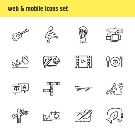 Vector illustration of 16 lifestyle icons line style. Editable set of travelling, skateboard, sewing and other icon elements. Ilustração