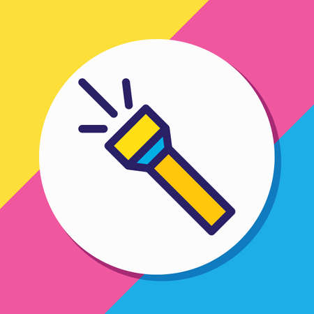 Vector illustration of flash icon colored line. Beautiful tourism element also can be used as torch icon element. Illustration