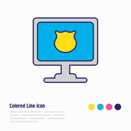 Vector illustration of protected computer icon colored line. Beautiful computer element also can be used as security icon element. Ilustração