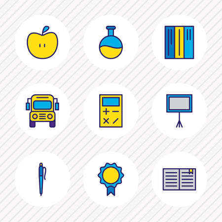 illustration of 9 science icons colored line. Editable set of blackboard, school bus, library and other icon elements.
