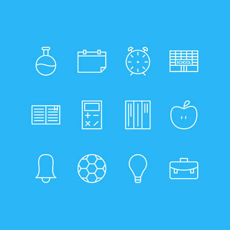 Vector illustration of 12 education icons line style. Editable set of flask, apple, ball and other icon elements.