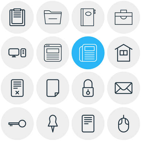 Vector illustration of 16 workplace icons line style. Editable set of mail, briefcase, pushpin and other icon elements.