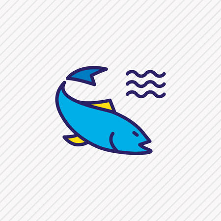 Vector illustration of salmon icon colored line. Beautiful naval element also can be used as perch icon element.