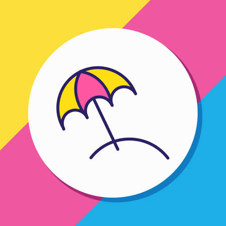 Vector illustration of beach umbrella icon colored line. Beautiful hotel element also can be used as parasol icon element. Ilustração
