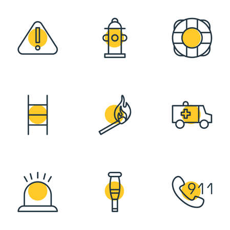 Vector illustration of 9 extra icons line style. Editable set of 911, ambulance, ladder and other icon elements. Ilustração