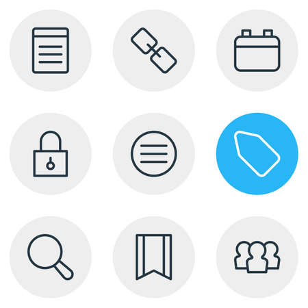Vector illustration of 9 annex icons line style. Editable set of bookmark, search, padlock and other icon elements.