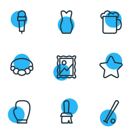 Vector illustration of 9 hobby icons line style. Editable set of picture, mic, brush and other icon elements.