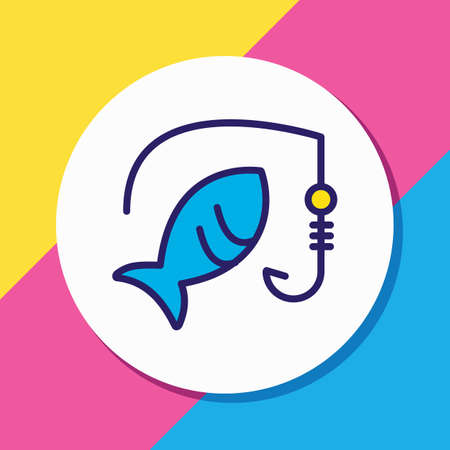 Vector illustration of fishing icon colored line. Beautiful hobby element also can be used as rod icon element. Illustration