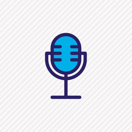 Vector illustration of microphone icon colored line. Beautiful lifestyle element also can be used as mic icon element. Ilustração