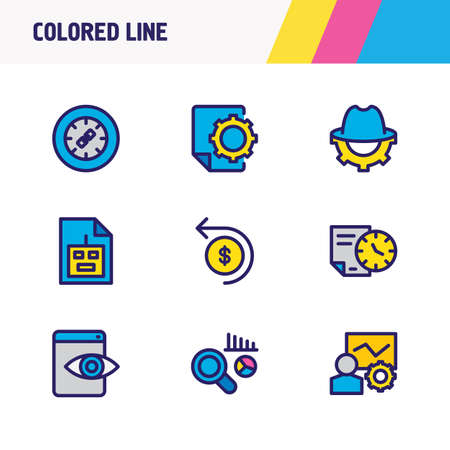 Vector illustration of 9 advertisement icons colored line. Editable set of link wheel, SEO report, robot txt and other icon elements.