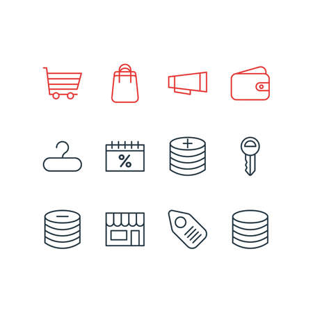 Vector illustration of 12 commerce icons line style. Editable set of sales day, bag, coins and other icon elements.