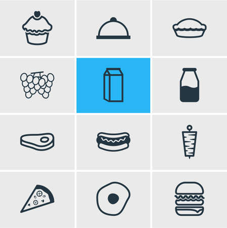 Vector illustration of 12 meal icons line style. Editable set of cupcake, meal, omelette and other icon elements.