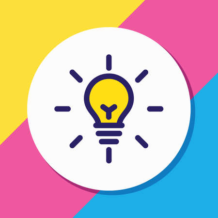 Vector illustration of fresh idea icon colored line. Beautiful marketing element also can be used as bulb icon element. Illustration