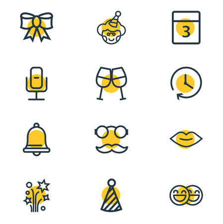 Vector illustration of 12 celebrate icons line style. Editable set of kiss, event day, recording mic and other icon elements.