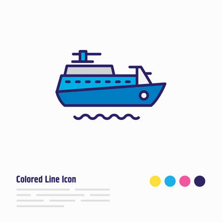 Vector illustration of ship icon colored line. Beautiful sea element also can be used as vessel icon element.