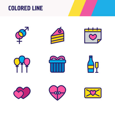 Vector illustration of 9 party icons colored line. Editable set of heart gift, piece of cake, mail and other icon elements.