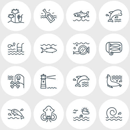 illustration of 16 sea icons line style. Editable set of bottle with note, pirate flag, cuttlefish and other icon elements.