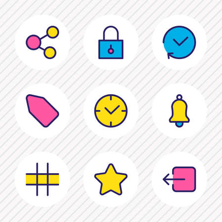 illustration of 9 annex icons colored line. Editable set of padlock, bell, star and other icon elements.