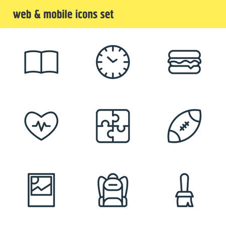 illustration of 9 lifestyle icons line style. Editable set of clock, rugby, burger and other icon elements. Stockfoto
