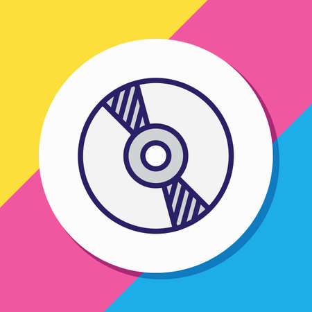 Vector illustration of cd icon colored line. Beautiful banquet element also can be used as compact disk icon element.