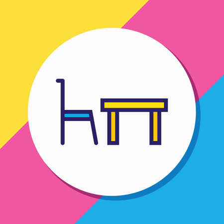 illustration of dining table icon colored line. Beautiful celebration element also can be used as restaurant icon element.