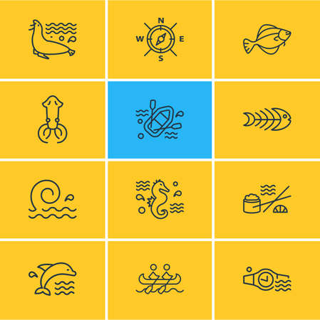 Vector illustration of 12 sea icons line style. Editable set of rubber boat, sushi, ocean and other icon elements.