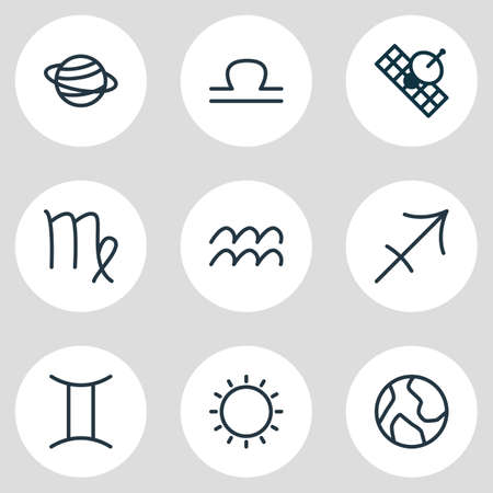 Vector illustration of 9 galaxy icons line style. Editable set of sun, aquarius, sagittarius and other icon elements.