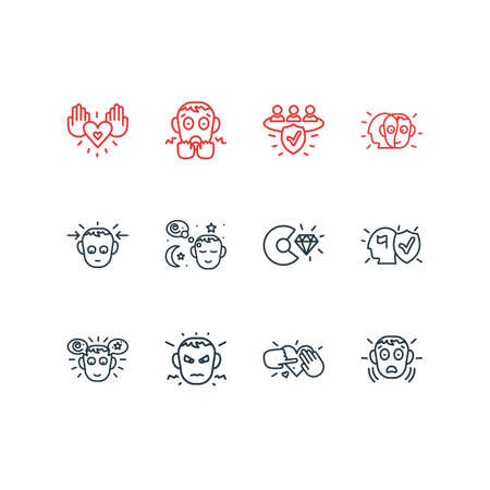 Vector illustration of 12 emoticon icons line style. Editable set of commitment, annoyed, charity and other icon elements. Standard-Bild - 124063086