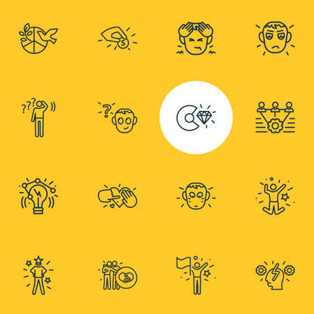 Vector illustration of 16 emoji icons line style. Editable set of tenderness, innovation, contribution and other icon elements. Illustration