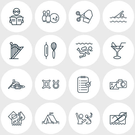 Vector illustration of 16 hobby icons line style. Editable set of baking, camping tent, harp and other icon elements.