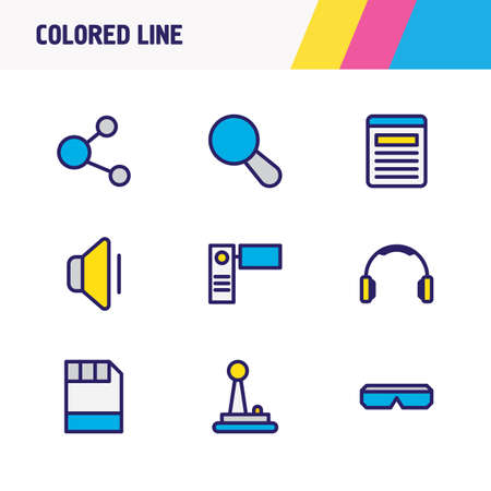 Vector illustration of 9 media icons colored line. Editable set of joystick, search, floppy disk and other icon elements.