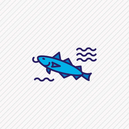 illustration of cod fish icon colored line. Beautiful marine element also can be used as catfish icon element. Stockfoto