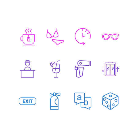 illustration of 12 hotel icons line style. Editable set of hotel worker, bikini, tea cup and other icon elements.