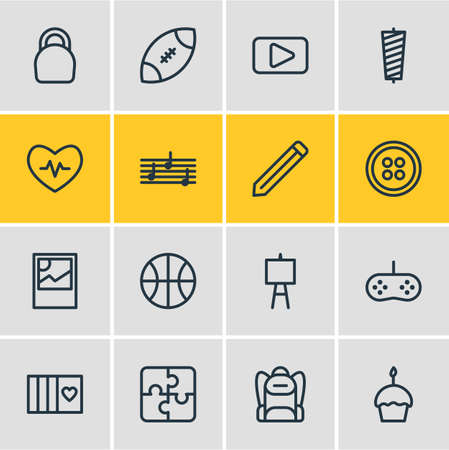 Vector illustration of 16 entertainment icons line style. Editable set of button, game controller, card and other icon elements.