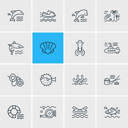 Vector illustration of 16 nautical icons line style. Editable set of mammal, jet ski, canoe and other icon elements.