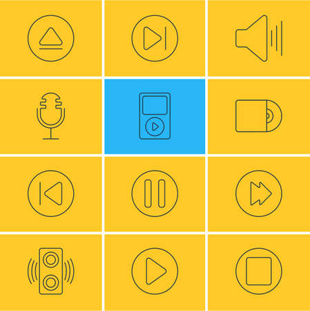 Vector illustration of 12 music icons line style. Editable set of stop, player, next and other icon elements.