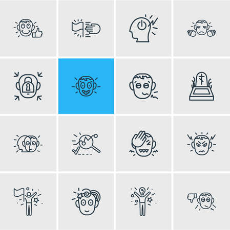 illustration of 16 emotions icons line style. Editable set of mind power, goals, pathetic and other icon elements.