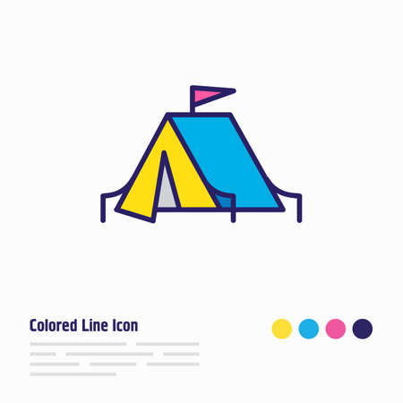 illustration of camping tent icon colored line. Beautiful activities element also can be used as tourism icon element.