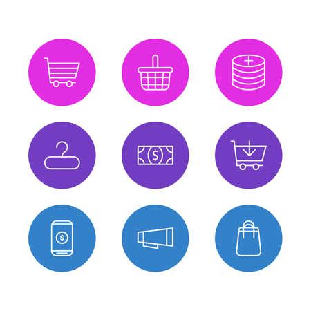 illustration of 9 wholesale icons line style. Editable set of money, shopping cart, profit and other icon elements.