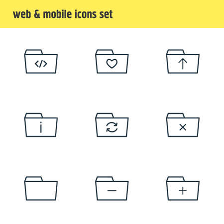 illustration of 9 folder icons line style. Editable set of info, remove, refresh and other icon elements.