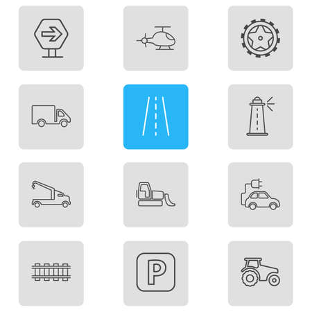 Vector illustration of 12 carrying icons line style. Editable set of road sign, eco car, bulldozer and other icon elements. 스톡 콘텐츠