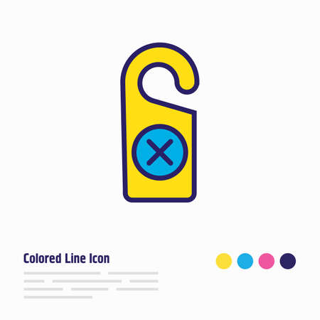 Vector illustration of do not disturb tag icon colored line. Beautiful travel element also can be used as door hanger icon element.
