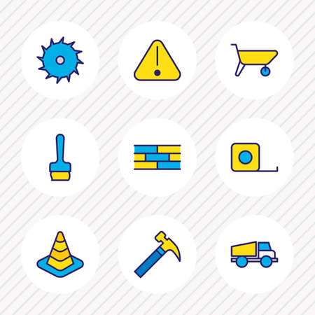 Vector illustration of 9 industry icons colored line. Editable set of truck, brush, brick wall and other icon elements.