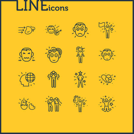 Vector illustration of 16 emoji icons line style. Editable set of shame, success, think outside box and other icon elements. Illustration