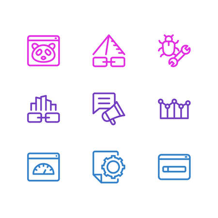 Vector illustration of 9 marketing icons line style. Editable set of social media campaign, link pyramid, google panda icon elements.