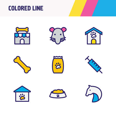 Vector illustration of 9 animal icons colored line. Editable set of pet house, nutrition, pet food and other icon elements.