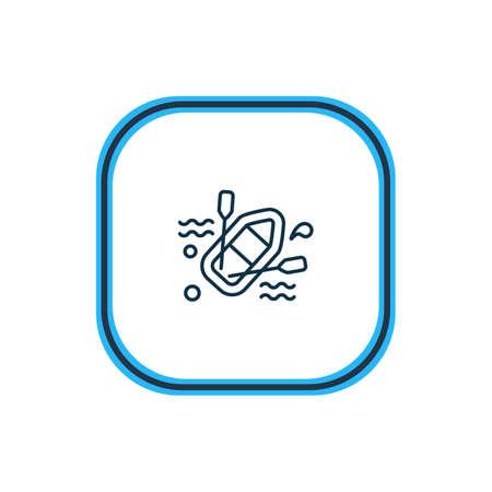 Illustration vectorielle de la ligne d'icône de bateau en caoutchouc. Un bel élément nautique peut également être utilisé comme élément d'icône de radeau.