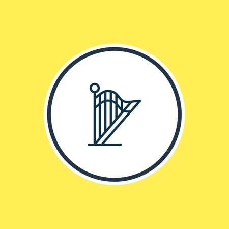 Vector illustration of harp icon line. Beautiful lifestyle element also can be used as lyre icon element. Banque d'images - 123891722