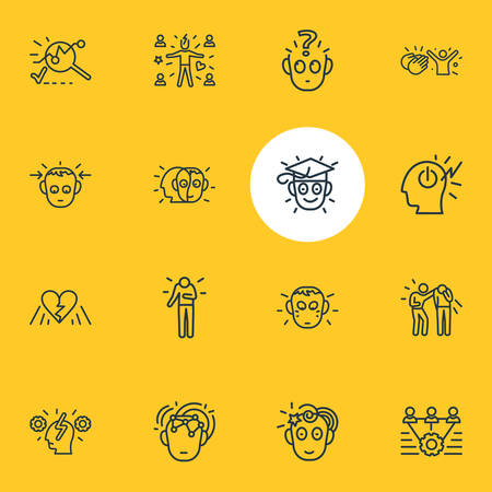 Vector illustration of 16 emoji icons line style. Editable set of intelligence, broken heart, alter ego and other icon elements.